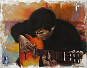 Guitar Player Paintings - Flamenco Guitar Player by Harvie Brown