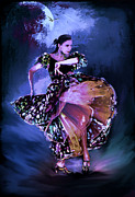 Flamenco Posters - Flamenco in the moonlight Poster by Andrzej  Szczerski