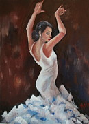 Senorita Art - Flamenco in White 2 by Marlyn Anderson