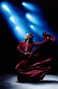 Signed Painting Prints - Flamenco Performance Print by Richard Young