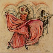 Spanish Fiesta Mixed Media Posters - Flamenco Rapido Poster by Jill Bennett