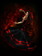 Dancer Art Digital Art Prints - Flamenco Print by Shanina Conway