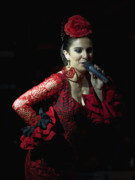 Red Dress Posters - Flamenco Singer 2 Poster by Kenton Smith