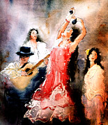 Dancing Girl Paintings - Flamenco by Steven Ponsford