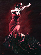 Hand Painted Framed Prints - Flamenco Swirl Framed Print by James Shepherd