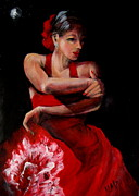 Red Dress Pastels - Flamenco with White Frill by Marlyn Anderson