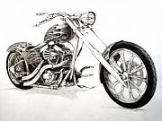 Chopper Drawings - Flames  by Richard Klingbeil