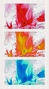 Fire Burns Metal Prints - Flames Triptych - Inverted Metal Print by Steve Ohlsen