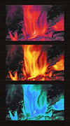 Fire Burns Metal Prints - Flames Triptych Metal Print by Steve Ohlsen