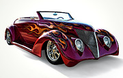 Flames Digital Art Posters - Flamin Red Roadster Poster by Douglas Pittman