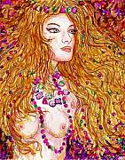 Gold Necklace Mixed Media Prints - Flaming Desire Print by Leonard Holland