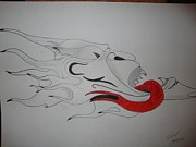 Evil Drawings Originals - Flaming devil head by Tony Stoufer