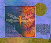 Creepy Crawly Posters - Flaming Dragonfly Poster by Mary Ogle