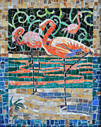 Mosaic Glass Art Posters - Flaming Flamingos Poster by Li Newton