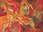 Fiber Art Paintings - Flaming Flower 2 by Deborah Younglao