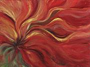 Red Flower Posters - Flaming Flower Poster by Nadine Rippelmeyer