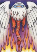Soul Drawings Posters - Flaming Flying Eyeball Poster by Amy S Turner