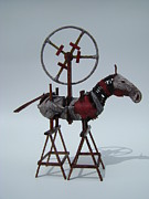 Assemblage Sculpture Originals - Flaming Heart by Jim Casey