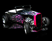 Pink Hot Rod Framed Prints - Flaming Hot Roadster  Framed Print by Peter Piatt