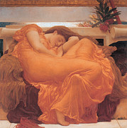 Raphaelite Framed Prints - Flaming June - 1895 Framed Print by Lord Frederic Leighton