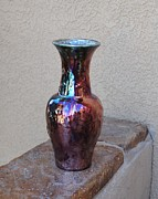 Raku Ceramics - Flaming vase by John Johnson