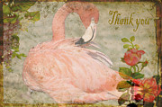 Messages Prints - Flamingo And Roses Thank You Print by Jan Amiss Photography
