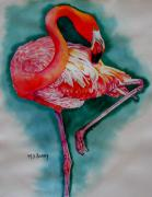 Pink Flamingo Framed Prints - Flamingo Ballerina Framed Print by Maria Barry