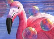 Whimsy Framed Prints - Flamingo Bubbles Framed Print by Catherine G McElroy