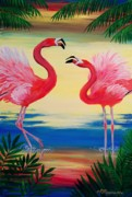 Flamingo Paintings - Flamingo Courtship Dance by Patricia L Davidson