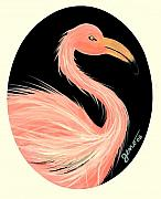 Flamingo Paintings - Flamingo deco by Helen Gerro