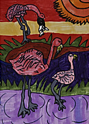 Flamingos Drawings - Flamingo Dip by Stephanie Ward