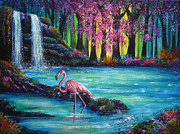 Kinkade Painting Prints - Flamingo Falls Print by Ann Marie Bone