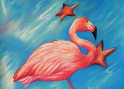 Flamingo Pastels Framed Prints - Flamingo Fantasy Framed Print by Gabriela Valencia