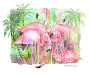 Pink Flamingo Framed Prints - Flamingo Five Framed Print by Arline Wagner