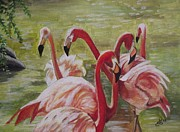 Kim Selig Art - Flamingo Gathering by Kim Selig