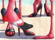 Flamingo Paintings - Flamingo Heels by Catherine G McElroy