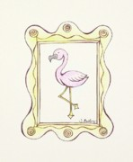 Feminine Drawings Originals - Flamingo in a Frame by Tessa Easley