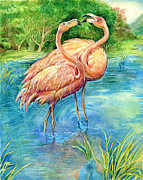 Green Framed Prints Posters - Flamingo in Love Poster by Natalie Berman
