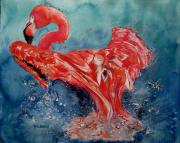 Flamingo Paintings - Flamingo inFlight by Maria Barry