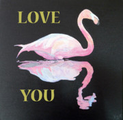 Asia Mixed Media Acrylic Prints - Flamingo Love You Acrylic Print by Eric Kempson