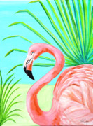 Flamingo Paintings - Flamingo Profile by Pauline Ross