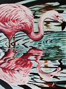 Flamingo Paintings - Flamingo Reflection by Kim Selig