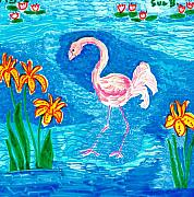 Bird Ceramics Posters - Flamingo Poster by Sushila Burgess