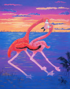 Dance In Water Prints - Flamingo Tango Print by Adriane Pirro