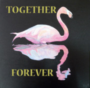 Special Occasion Paintings - Flamingo Together Forever by Eric Kempson