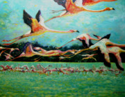 Birds Paintings - Flamingoes in flight by Gill Bustamante