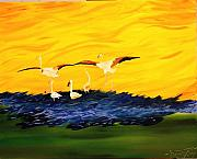 Gregory Allen Page Art - Flamingoes On The Wing by Gregory Allen Page