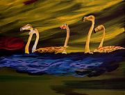 Gregory Allen Page Art - Flamingoes Swim African Birds by Gregory Allen Page