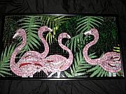 Music Glass Art Originals - Flamingos And Palms by Jane Wright