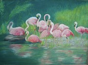 Flamingo Pastels Framed Prints - Flamingos at Play Framed Print by Lisa Voight